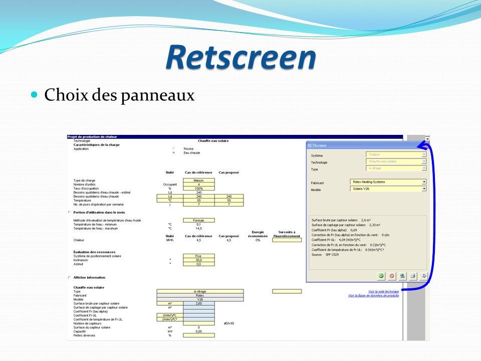 Retscreen Choix des panneaux