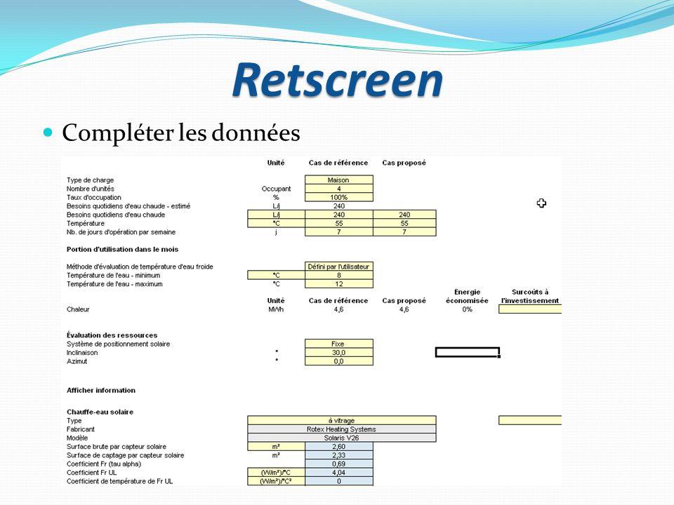 Retscreen Compléter les données