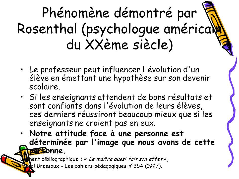 Phénomène démontré par Rosenthal (psychologue américain du XXème siècle)