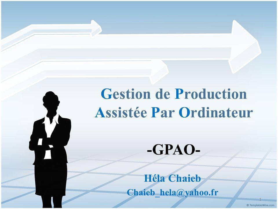 Gestion de Production Assistée Par Ordinateur -GPAO-