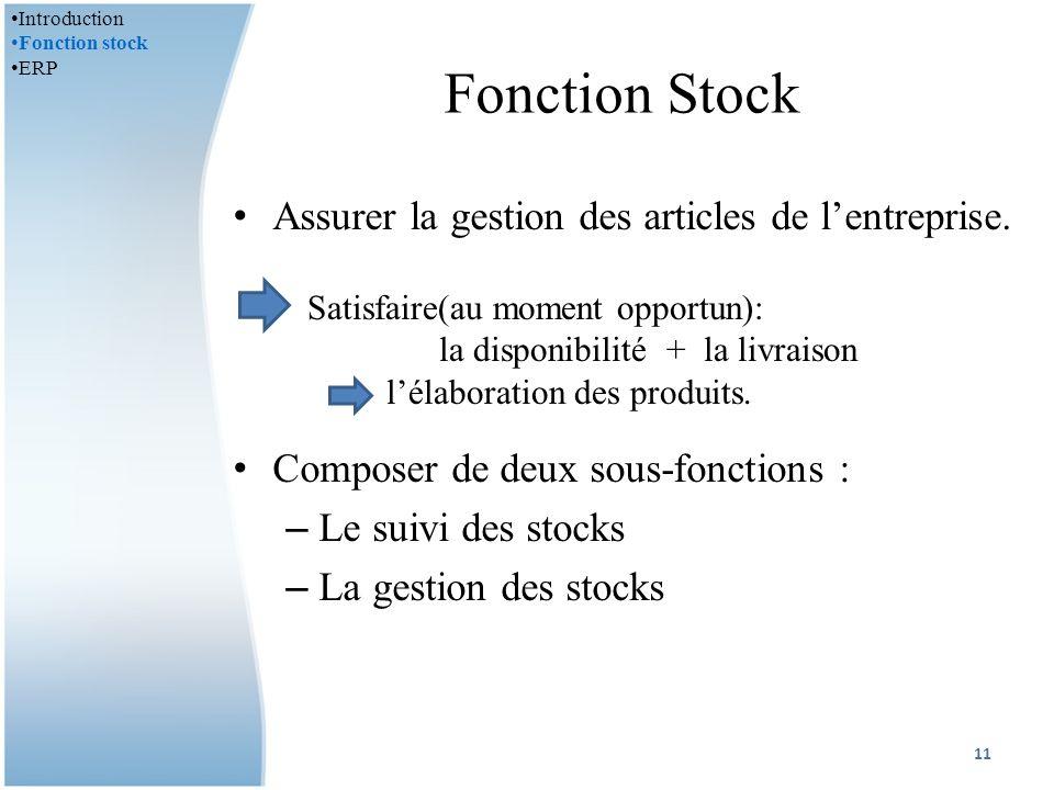 Fonction Stock Assurer la gestion des articles de l'entreprise.