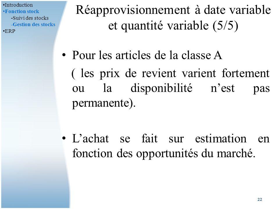 Réapprovisionnement à date variable et quantité variable (5/5)