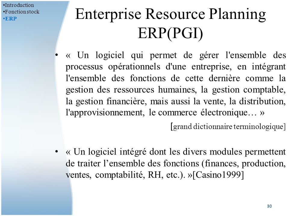 Enterprise Resource Planning ERP(PGI)