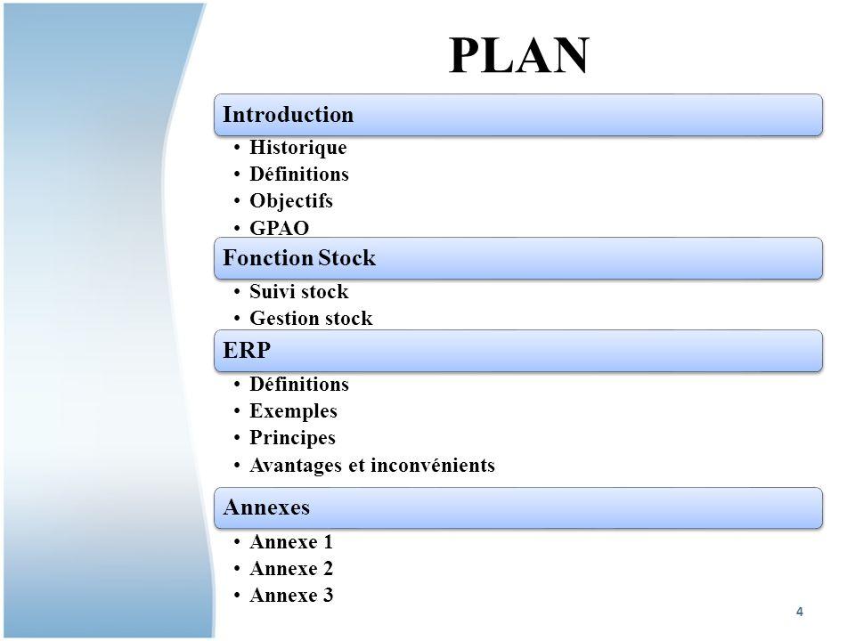 PLAN Introduction Fonction Stock ERP Annexes Historique Définitions