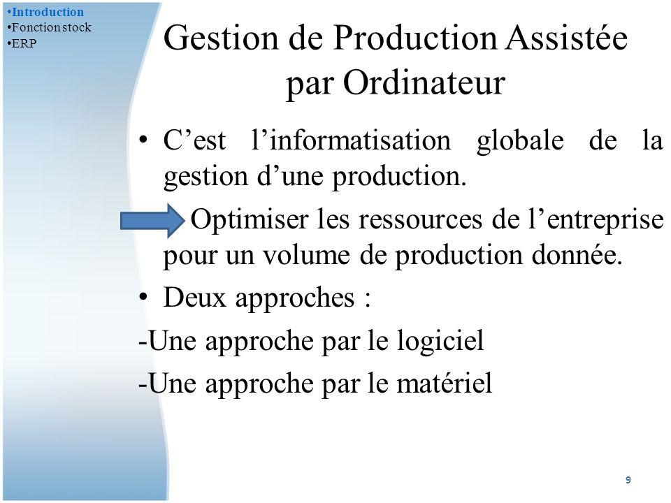 Gestion de Production Assistée par Ordinateur