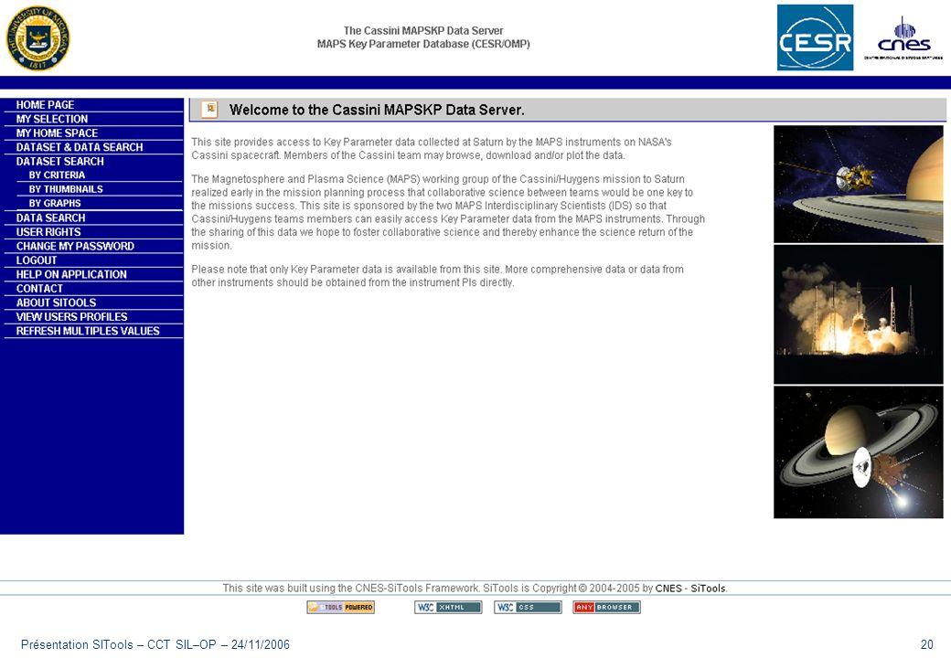 Présentation SITools – CCT SIL–OP – 24/11/2006