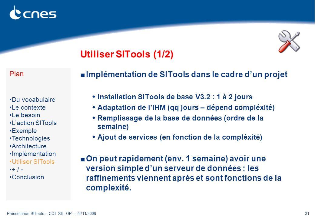 Utiliser SITools (1/2) Plan. Du vocabulaire. Le contexte. Le besoin. L'action SITools. Exemple.