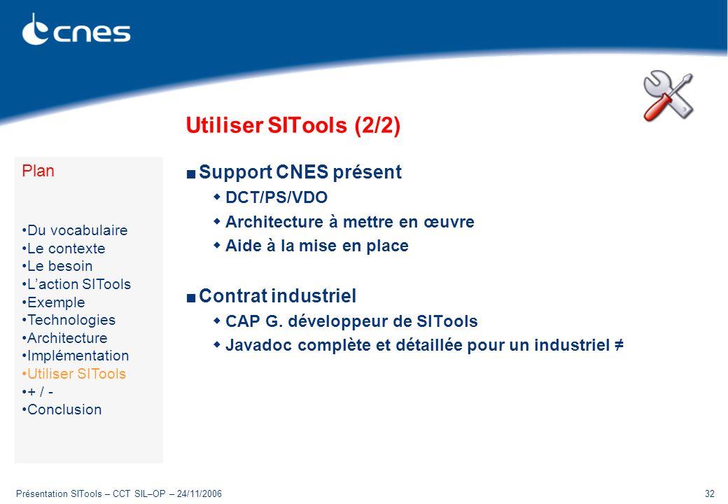 Utiliser SITools (2/2) Support CNES présent Contrat industriel Plan