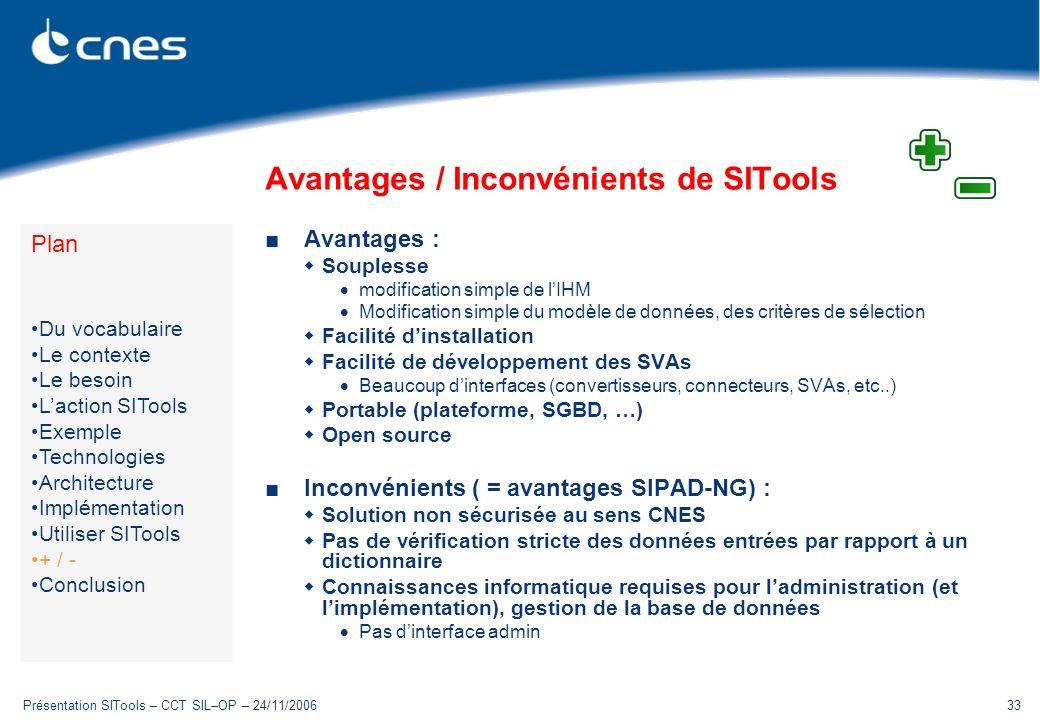Avantages / Inconvénients de SITools
