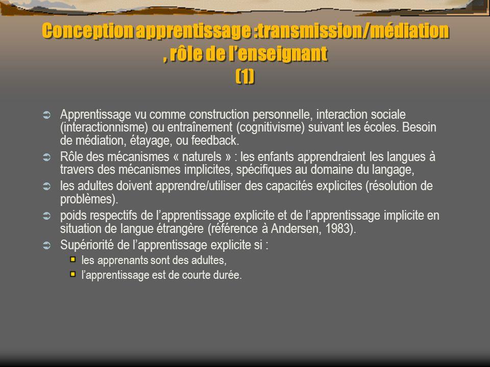 Conception apprentissage :transmission/médiation , rôle de l'enseignant (1)