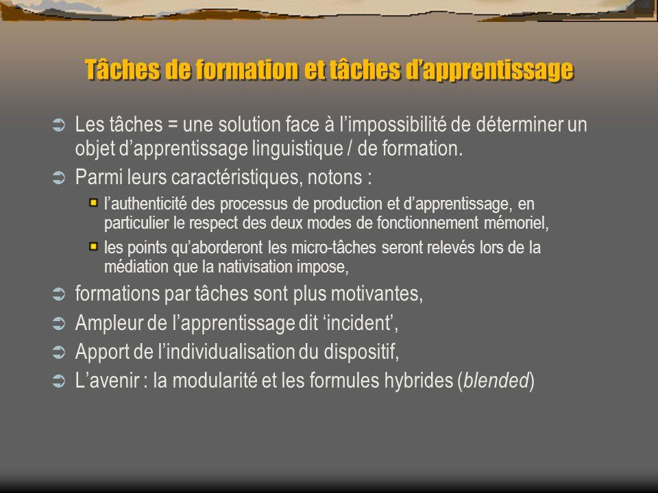 Tâches de formation et tâches d'apprentissage