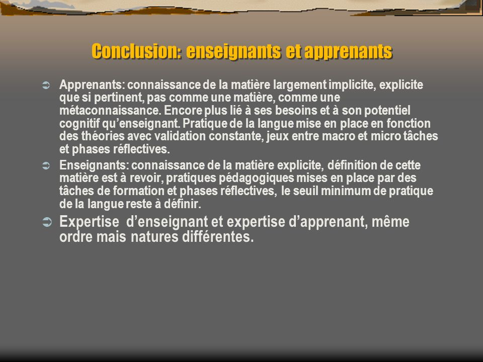 Conclusion: enseignants et apprenants