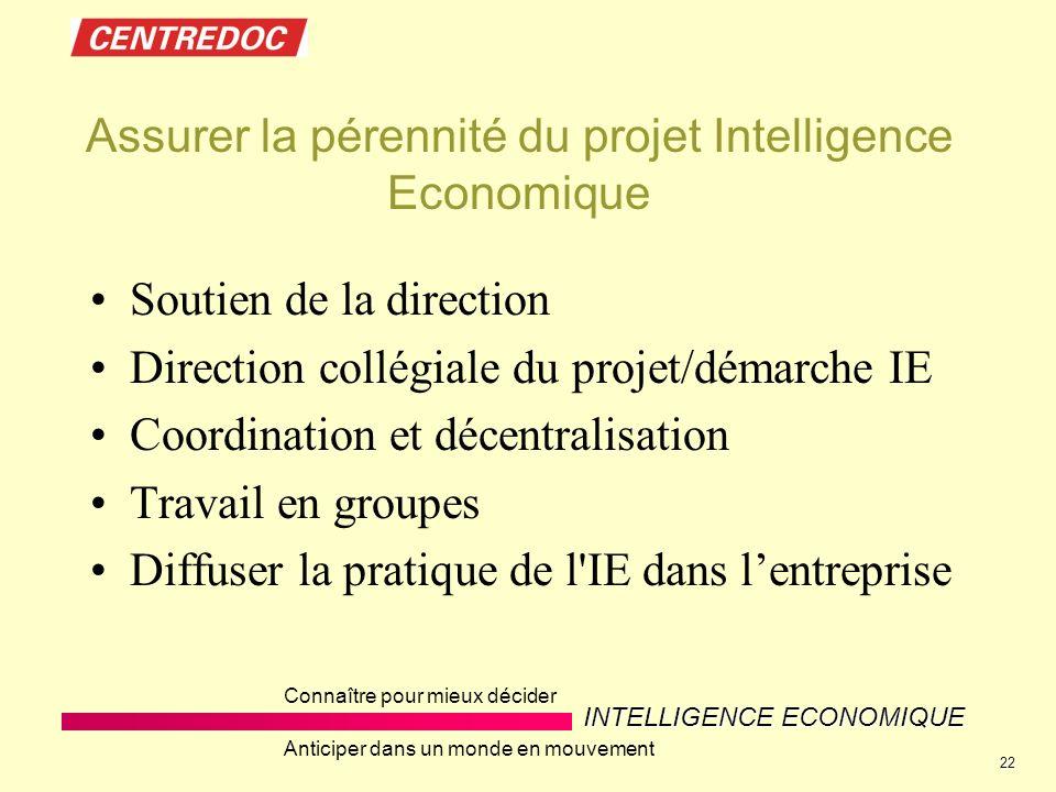 Assurer la pérennité du projet Intelligence Economique