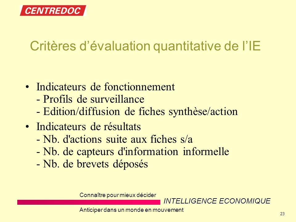 Critères d'évaluation quantitative de l'IE