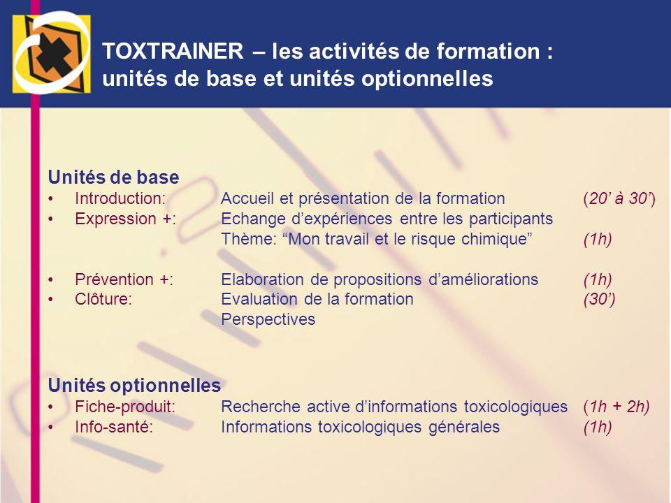 TOXTRAINER – les activités de formation : unités de base et unités optionnelles