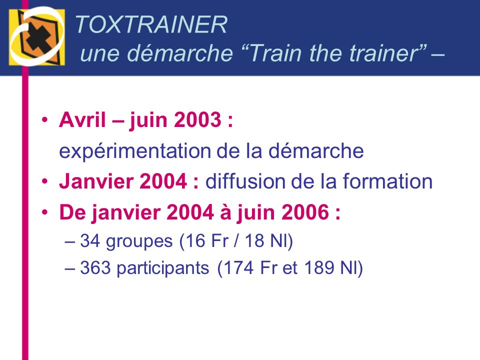 TOXTRAINER une démarche Train the trainer –