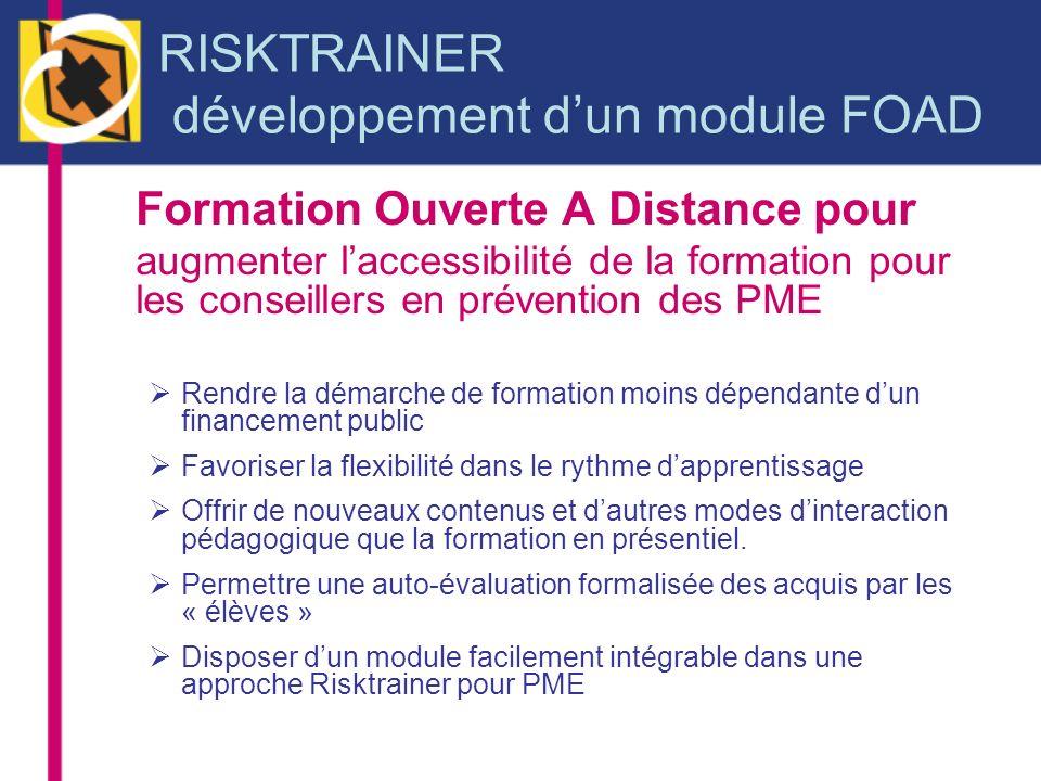 RISKTRAINER développement d'un module FOAD