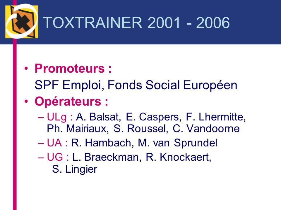 TOXTRAINER 2001 - 2006 Promoteurs : SPF Emploi, Fonds Social Européen