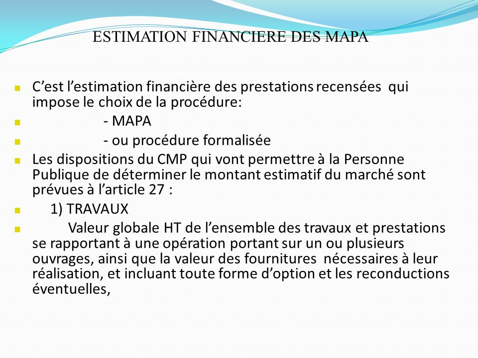ESTIMATION FINANCIERE DES MAPA