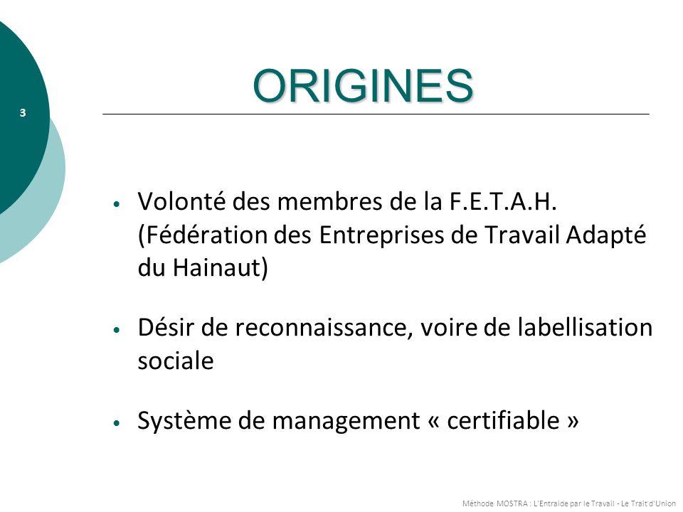ORIGINES Volonté des membres de la F.E.T.A.H. (Fédération des Entreprises de Travail Adapté du Hainaut)