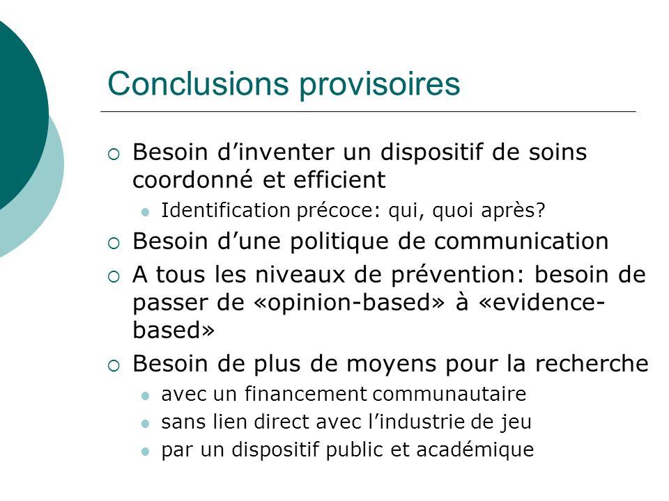 Conclusions provisoires