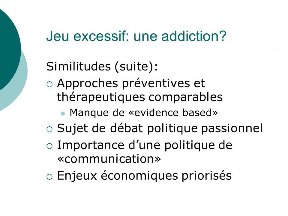 Jeu excessif: une addiction