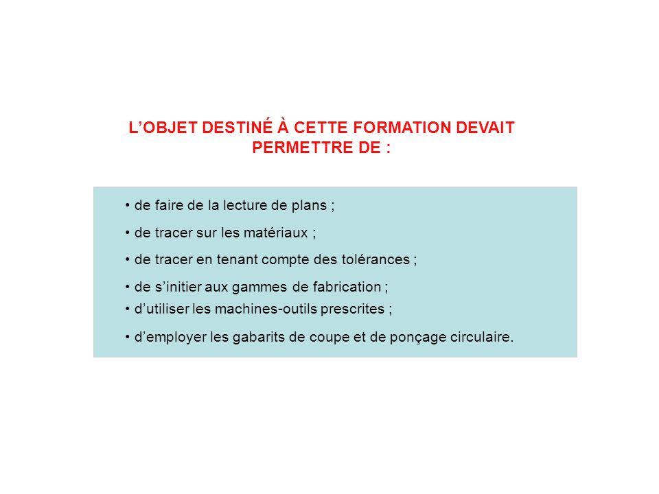 L'OBJET DESTINÉ À CETTE FORMATION DEVAIT PERMETTRE DE :