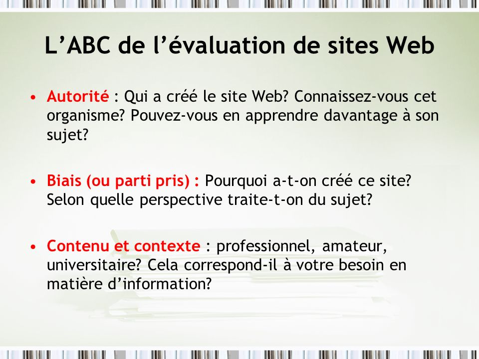 L'ABC de l'évaluation de sites Web