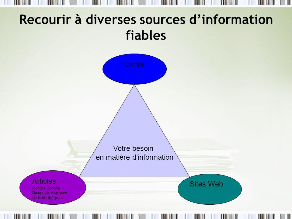 Recourir à diverses sources d'information fiables