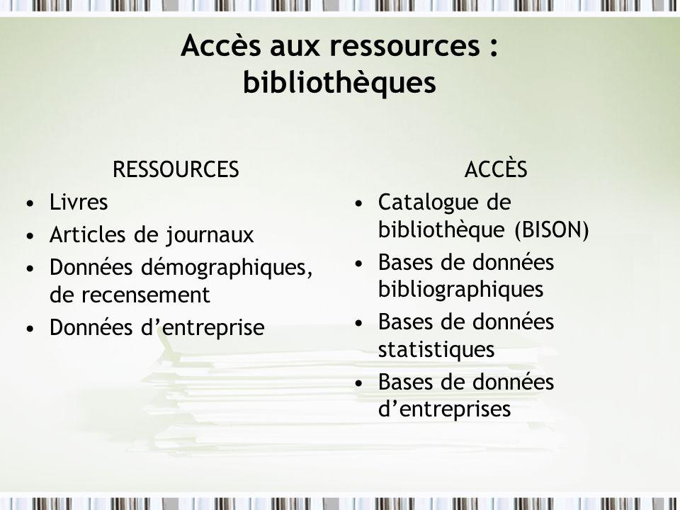 Accès aux ressources : bibliothèques