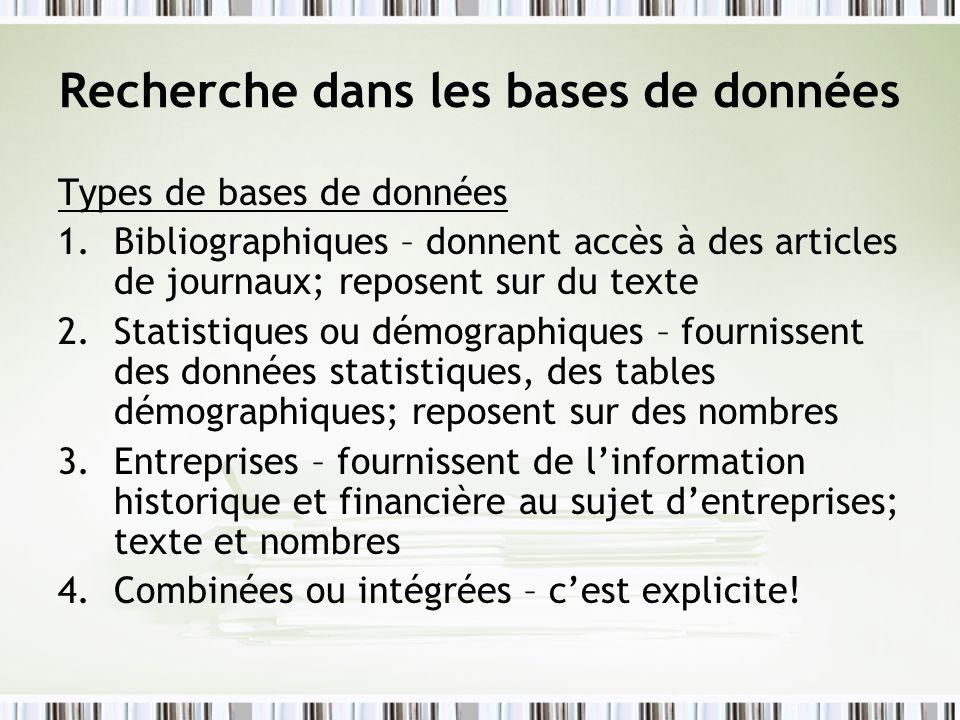 Recherche dans les bases de données