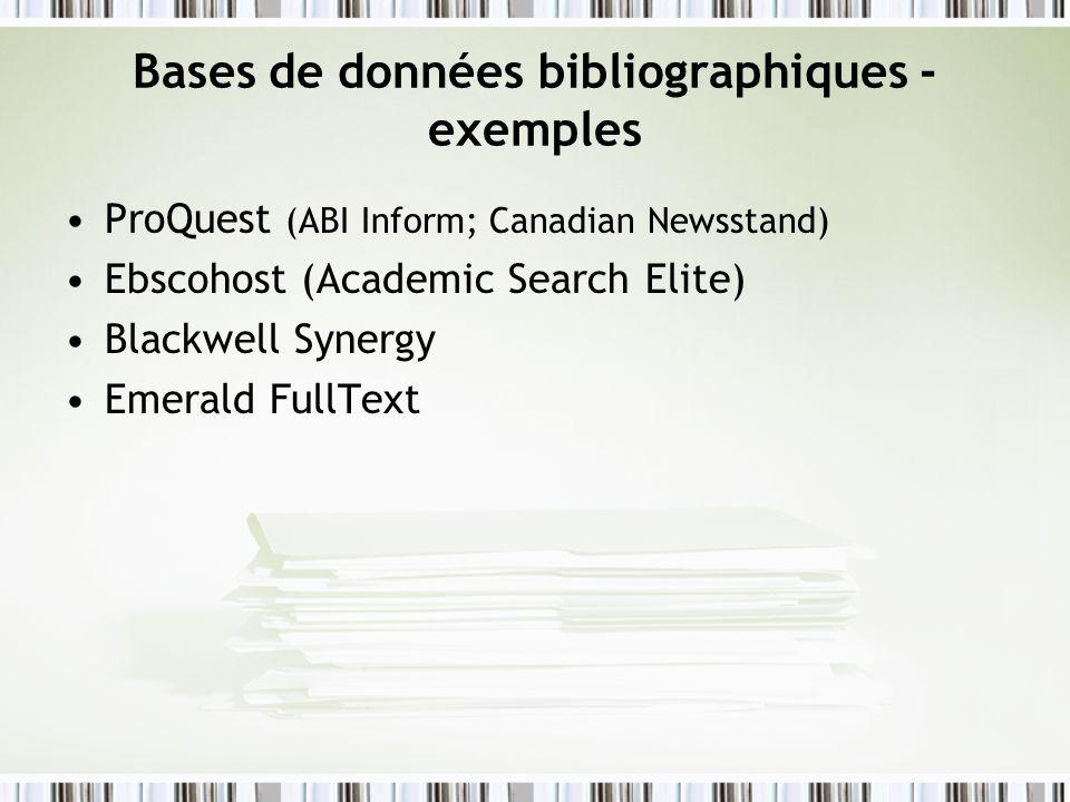 Bases de données bibliographiques - exemples