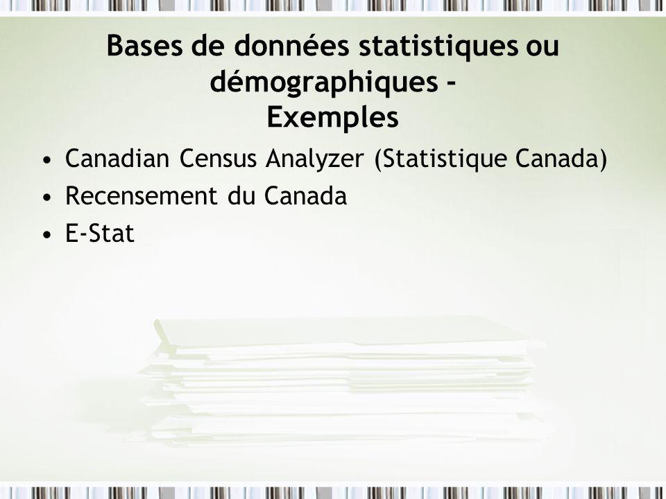 Bases de données statistiques ou démographiques - Exemples
