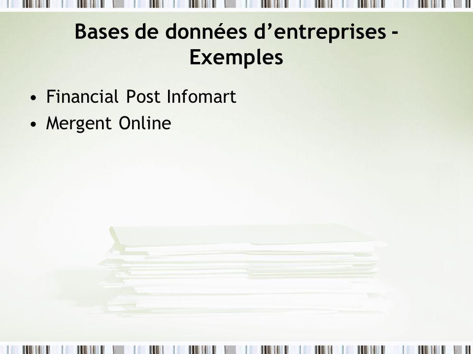 Bases de données d'entreprises - Exemples