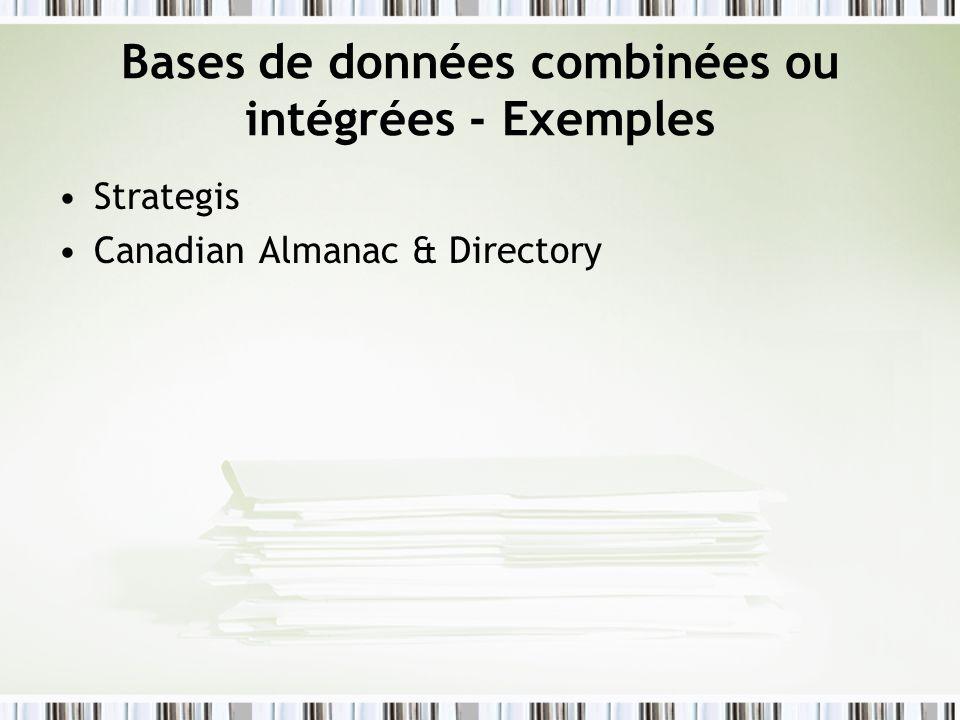 Bases de données combinées ou intégrées - Exemples