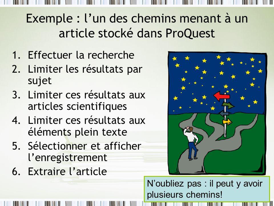 Exemple : l'un des chemins menant à un article stocké dans ProQuest