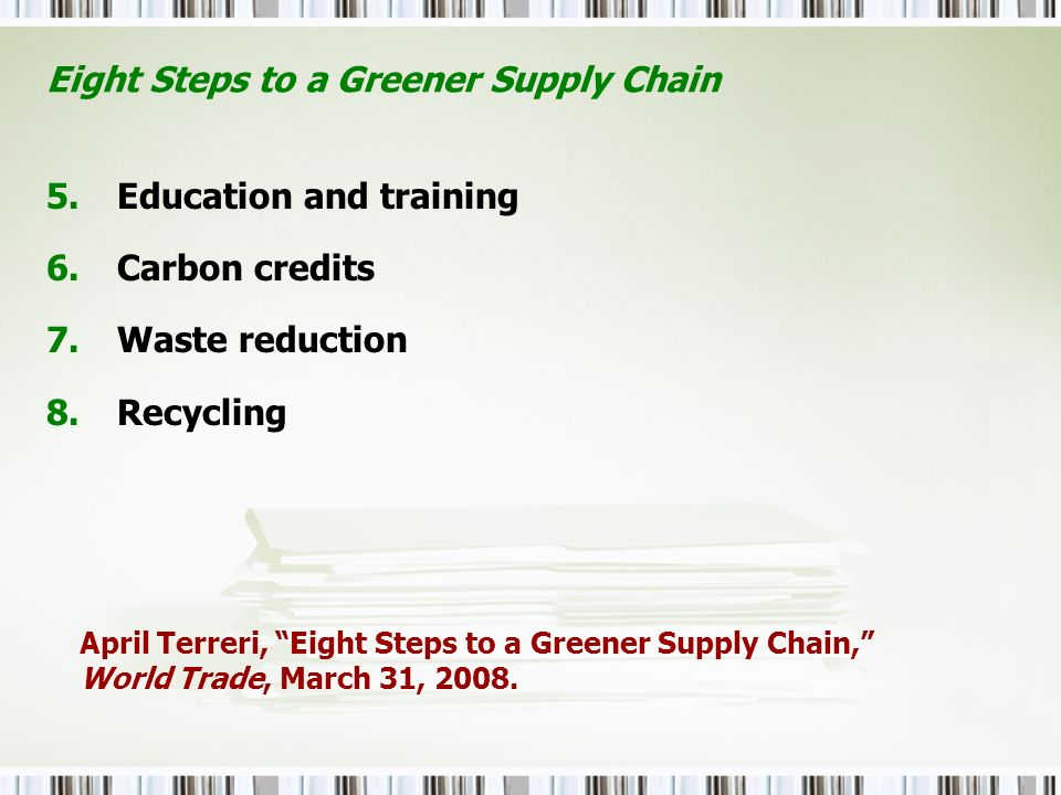 Eight Steps to a Greener Supply Chain