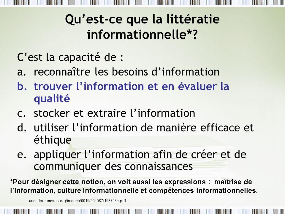 Qu'est-ce que la littératie informationnelle*
