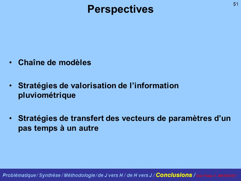 Perspectives Chaîne de modèles