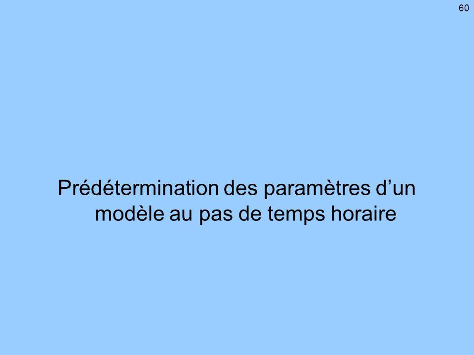 Prédétermination des paramètres d'un modèle au pas de temps horaire