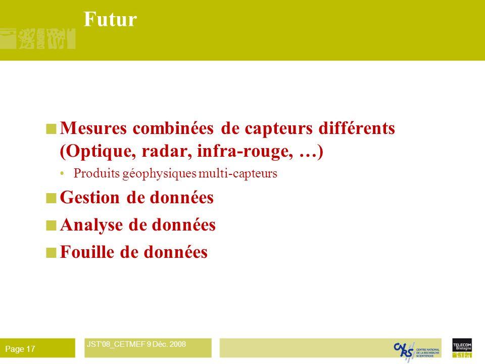 Futur Mesures combinées de capteurs différents (Optique, radar, infra-rouge, …) Produits géophysiques multi-capteurs.