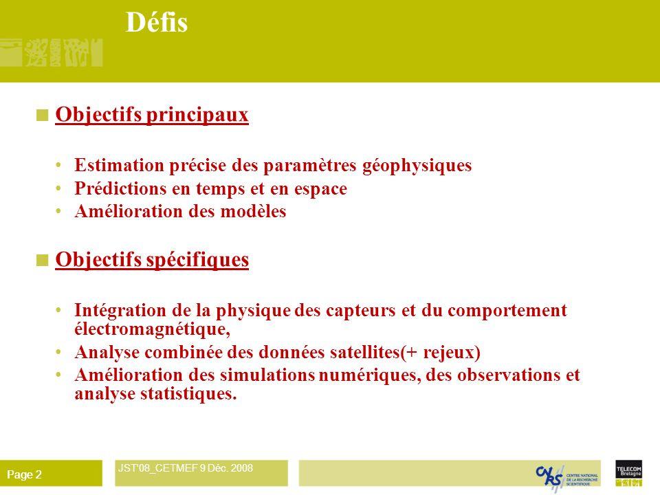 Défis Objectifs principaux Objectifs spécifiques