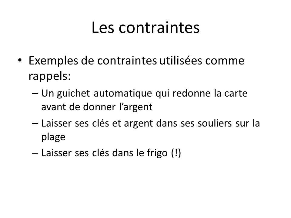 Les contraintes Exemples de contraintes utilisées comme rappels: