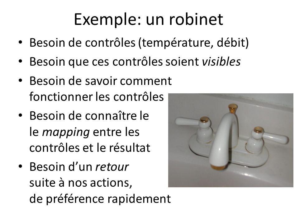 Exemple: un robinet Besoin de contrôles (température, débit)