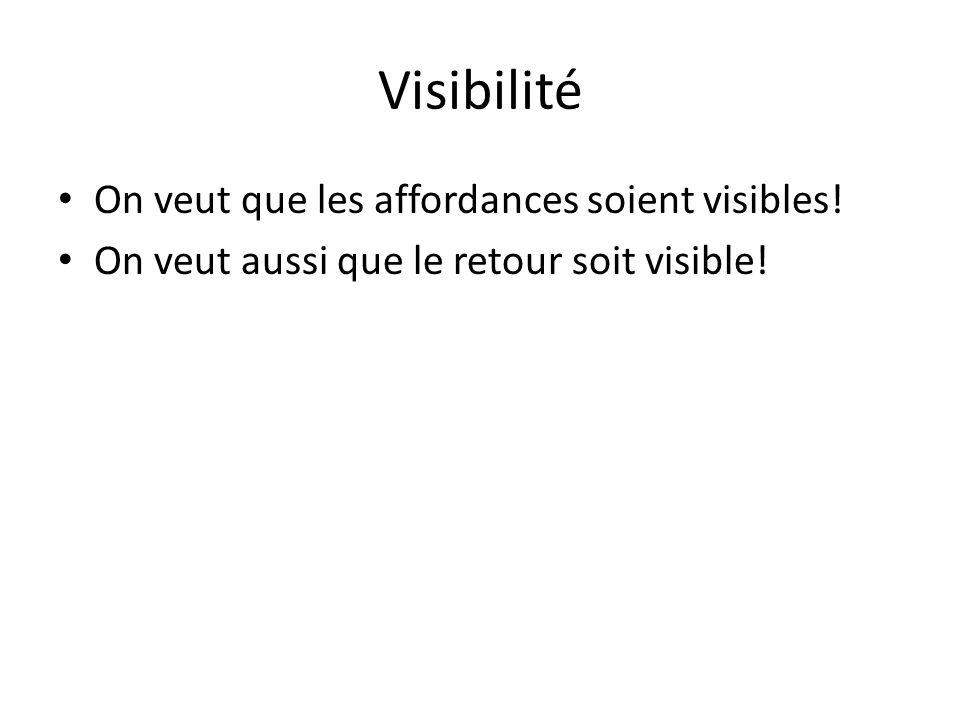 Visibilité On veut que les affordances soient visibles!