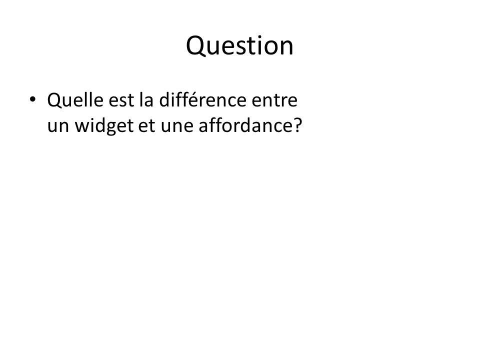 Question Quelle est la différence entre un widget et une affordance