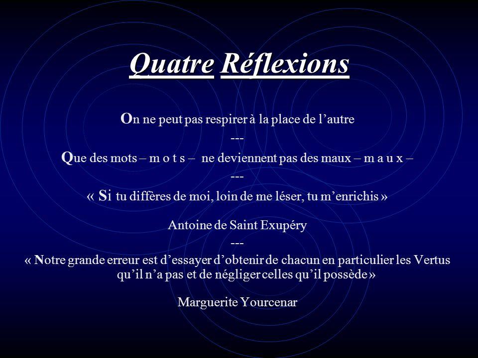 Quatre Réflexions On ne peut pas respirer à la place de l'autre