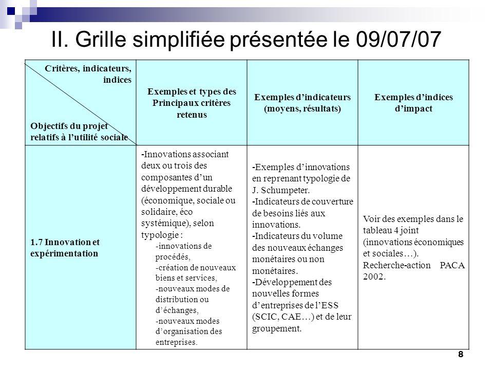 II. Grille simplifiée présentée le 09/07/07