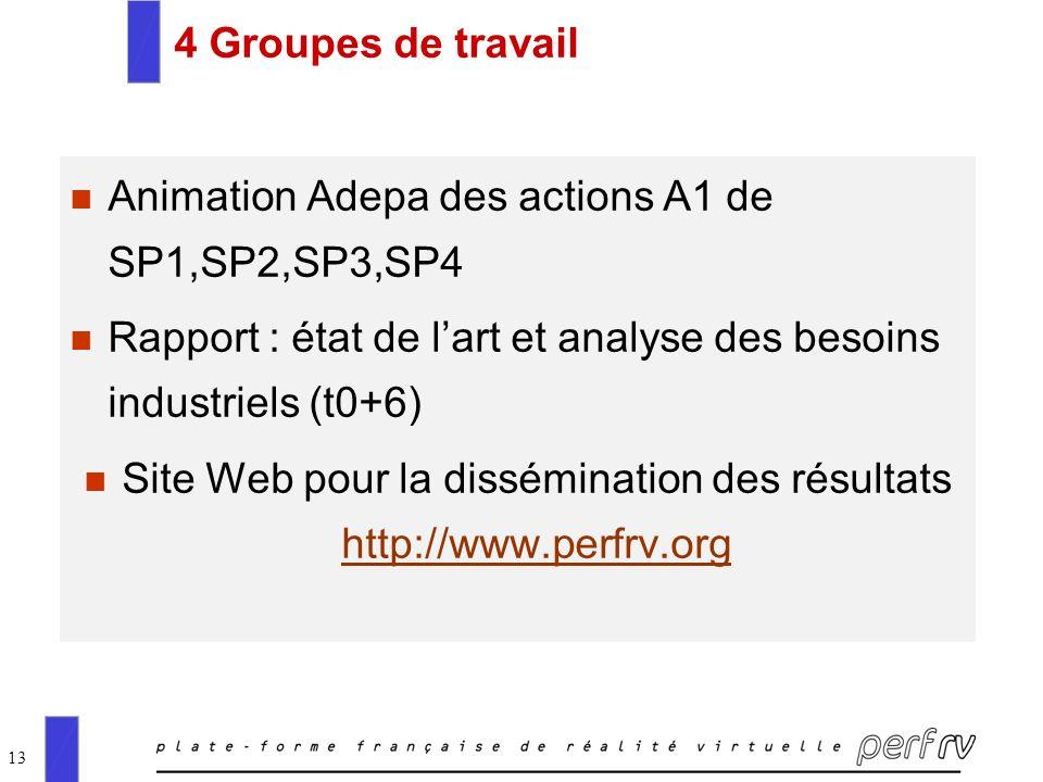 Site Web pour la dissémination des résultats http://www.perfrv.org