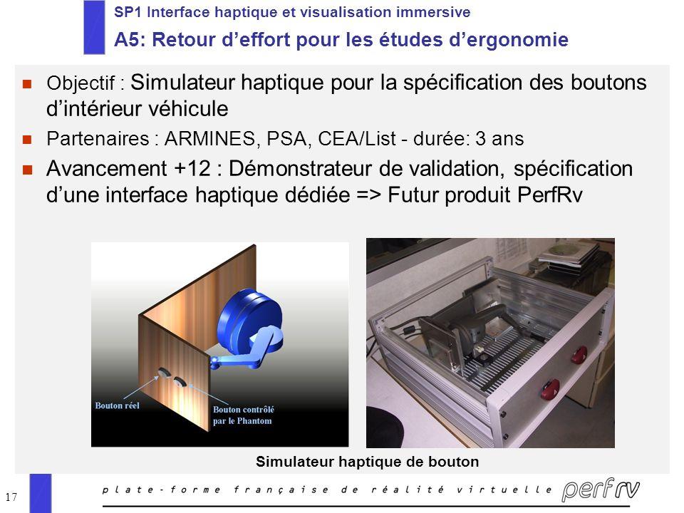 SP1 Interface haptique et visualisation immersive A5: Retour d'effort pour les études d'ergonomie